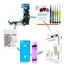 Kit de réparation Brico-phone avec connecteur de charge et micro  GRIS iPhone 8