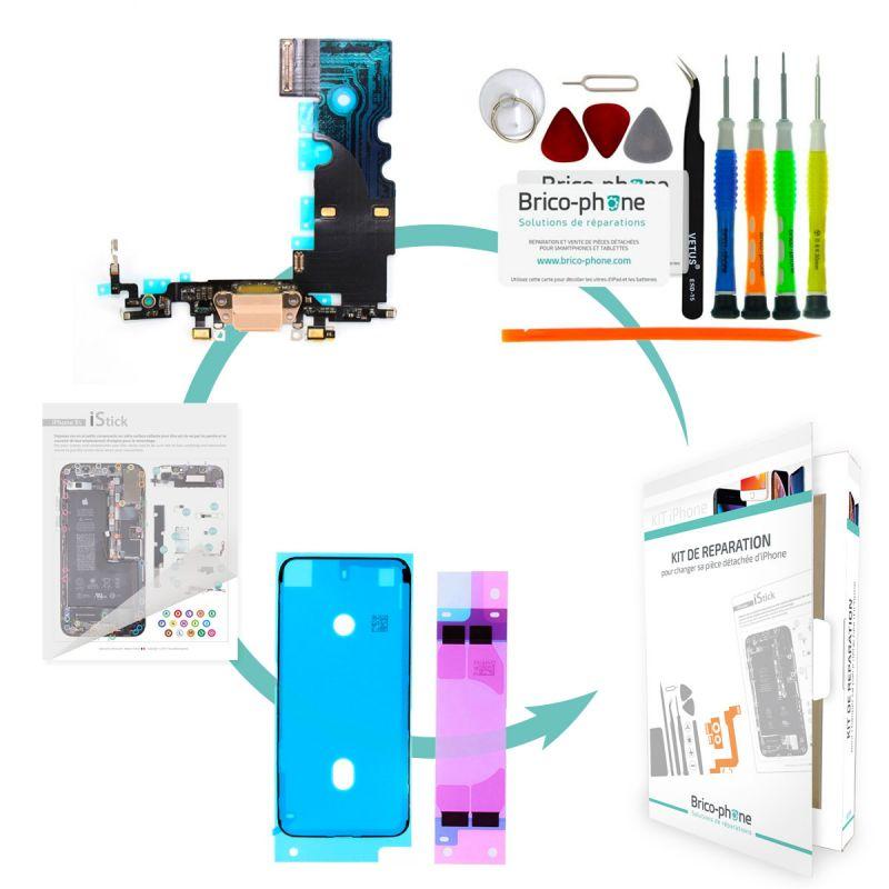 Kit de réparation Brico-phone avec connecteur de charge et micro  OR iPhone 8