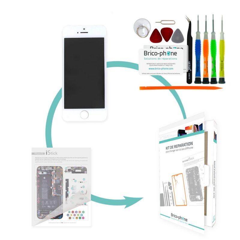 Kit de réparation Brico-phone avec écran BLANC iPhone SE RAPPORT QUALITE / PRIX Pré assemblé