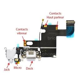 Connecteur de charge Blanc avec jack et micro iPhone 6 photo 4