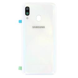 Remplacer la vitre arrière en plastique du Galaxy A40 blanc par une pièce neuve d'origine avec Bricophone_photo1
