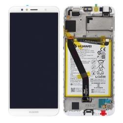 Bloc écran blanc complet pré-monté sur châssis avec batterie pour Huawei Y6 2018_photo1