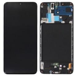 Ecran Noir avec vitre + Super Amoled pré-montés sur châssis pour Samsung Galaxy A70