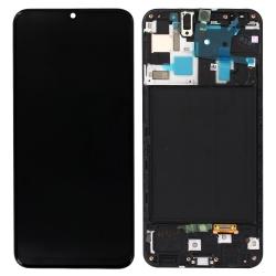 Ecran Noir avec vitre + Super Amoled pré-montés sur châssis pour Samsung Galaxy A50