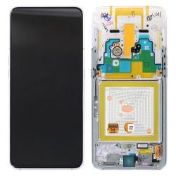 Bloc écran Super Amoled + vitre pré-monté sur châssis pour Samsung Galaxy A80 Argent