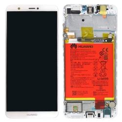 Ecran Blanc COMPLET prémonté sur châssis + batterie pour Huawei P Smart