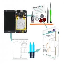 Kit de réparation Ecran complet Gris COMPLET prémonté sur châssis avec batterie Huawei Honor 10