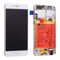 Bloc écran LCD Blanc pré-monté sur châssis + batterie pour Honor 8_photo1