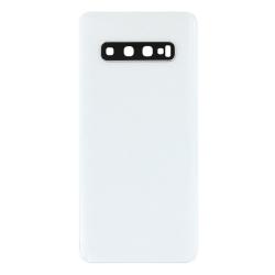 Vitre arrière compatible pour Samsung Galaxy S10 Blanc Prisme