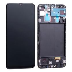 Bloc écran Super Amoled et vitre pré-montés sur châssis pour Samsung Galaxy A30 Noir
