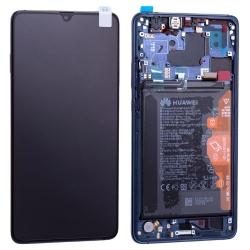 Bloc écran complet pré-monté sur châssis + batterie pour Huawei Mate 20 X Bleu