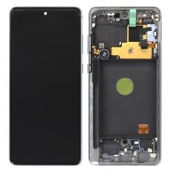 Bloc écran Super AMOLED pré-monté sur châssis pour Samsung Galaxy Note 10 Lite Argent