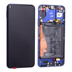 Bloc écran complet pré-monté sur châssis + batterie pour Huawei Nova 5T et Honor 20 bleu