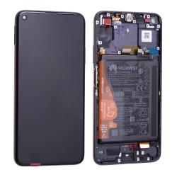 Bloc écran complet pré-monté sur châssis + batterie pour Huawei Nova 5T et Honor 20 noir