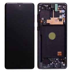 Bloc écran Super AMOLED Plus pré-monté sur châssis pour Samsung Galaxy Note 10 Lite Noir