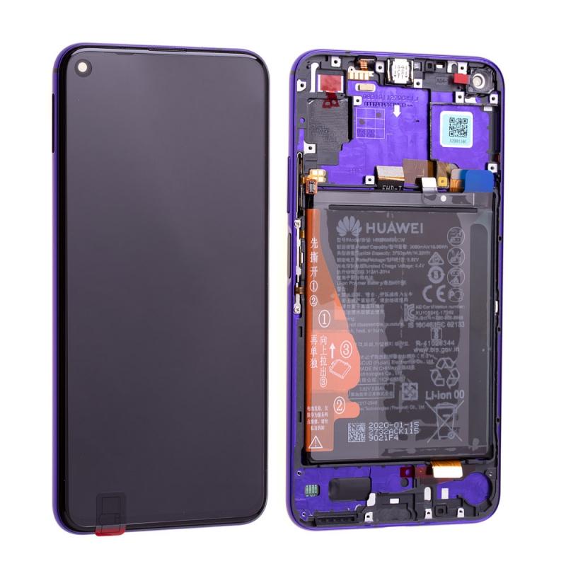 Bloc écran complet pré-monté sur châssis + batterie pour Huawei Nova 5T et Honor 20 violet