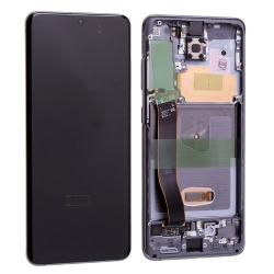 Bloc écran Dynamic Amoled 2X pré-monté sur châssis pour Samsung Galaxy S20 Cosmic Gray