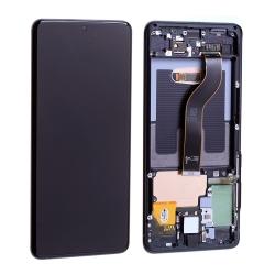 Bloc écran Dynamic Amoled 2X pré-monté sur châssis pour Samsung Galaxy S20+ Noir