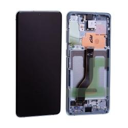 Bloc écran Dynamic Amoled 2X pré-monté sur châssis pour Samsung Galaxy S20+ Bleu