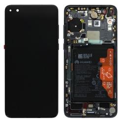 Bloc écran OLED complet pré-monté sur châssis + batterie pour Huawei P40 Noir
