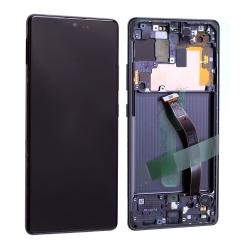 Bloc écran Super Amoled Plus pré-monté sur châssis pour Samsung Galaxy S10 Lite Noir Prismatique