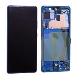 Bloc écran Super Amoled Plus pré-monté sur châssis pour Samsung Galaxy S10 Lite Bleu