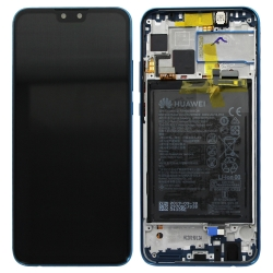 Bloc écran complet pré-monté sur châssis + batterie pour Huawei Y9 (2019) Bleu