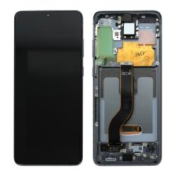 Bloc écran Dynamic Amoled 2X pré-monté sur châssis pour Samsung Galaxy S20+ Argent
