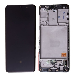 Bloc écran Super Amoled pré-monté sur châssis pour Samsung Galaxy A41 Noir Prismatique