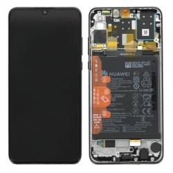 Bloc écran IPS LCD complet pré-monté sur châssis + batterie pour Huawei P30 Lite New Edition Noir Minuit