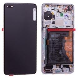 Bloc écran OLED complet pré-monté sur châssis + batterie pour Huawei P40 Blanc