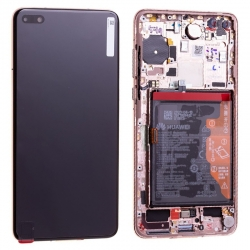 Bloc écran OLED complet pré-monté sur châssis + batterie pour Huawei P40 Or