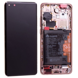 Bloc écran OLED complet pré-monté sur châssis + batterie pour Huawei P40 Pro Or