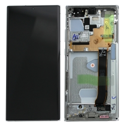 Bloc écran Dynamic AMOLED 2X pré-monté sur châssis pour Samsung Galaxy Note 20 Ultra Blanc