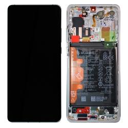 Bloc écran OLED complet pré-monté sur châssis + batterie pour Huawei P30 Pro New Edition Argent