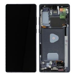 Bloc écran Super AMOLED Plus pré-monté sur châssis pour Samsung Galaxy Note 20 Noir