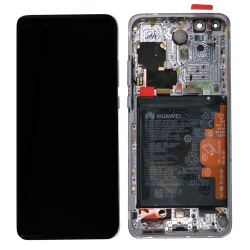 Bloc écran OLED complet pré-monté sur châssis + batterie pour Huawei P40 Pro Blanc