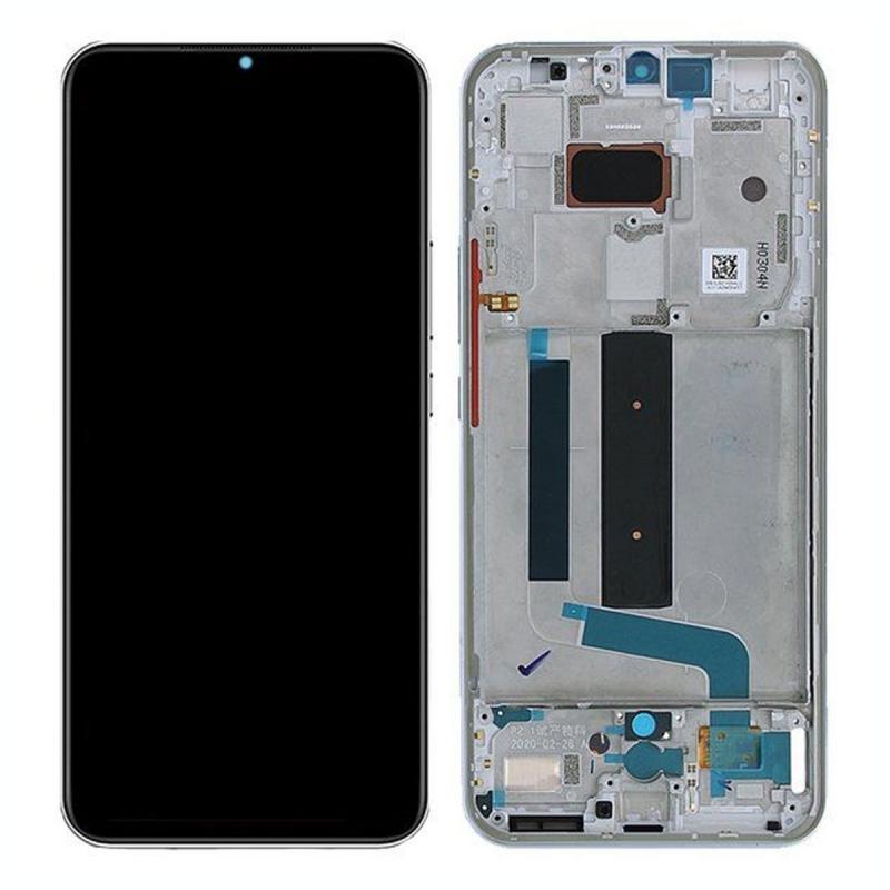 Bloc écran Amoled et vitre pré-montés sur châssis pour Xiaomi Mi 10 Lite Blanc