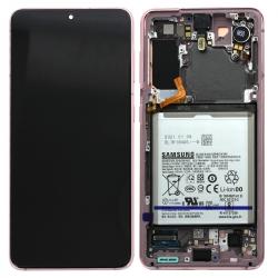 Bloc écran Dynamic Amoled 2X pré-monté sur châssis pour Samsung Galaxy S21 Phantom Pink
