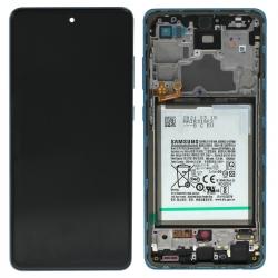 Bloc écran pré-monté sur châssis + batterie pour Samsung Galaxy A72 & A72 (5G) Bleu_photo1