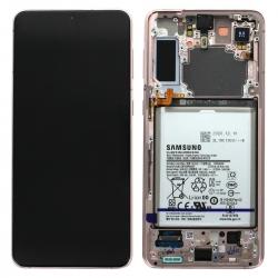 Bloc écran Dynamic Amoled 2X pré-monté sur châssis avec batterie pour Samsung Galaxy S21+ Phantom Violet_photo1