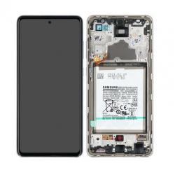 Bloc écran pré-monté sur châssis + batterie pour Samsung Galaxy A72 & A72 (5G) Blanc photo 1