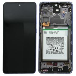 Bloc écran pré-monté sur châssis + batterie pour Samsung Galaxy A72 & A72 (5G) Violet_photo1