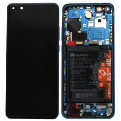 Bloc écran OLED complet pré-monté sur châssis + batterie pour Huawei P40 Pro Bleu_photo1