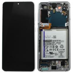 Bloc écran Dynamic Amoled 2X pré-monté sur châssis pour Samsung Galaxy S21 Phantom White_photo1