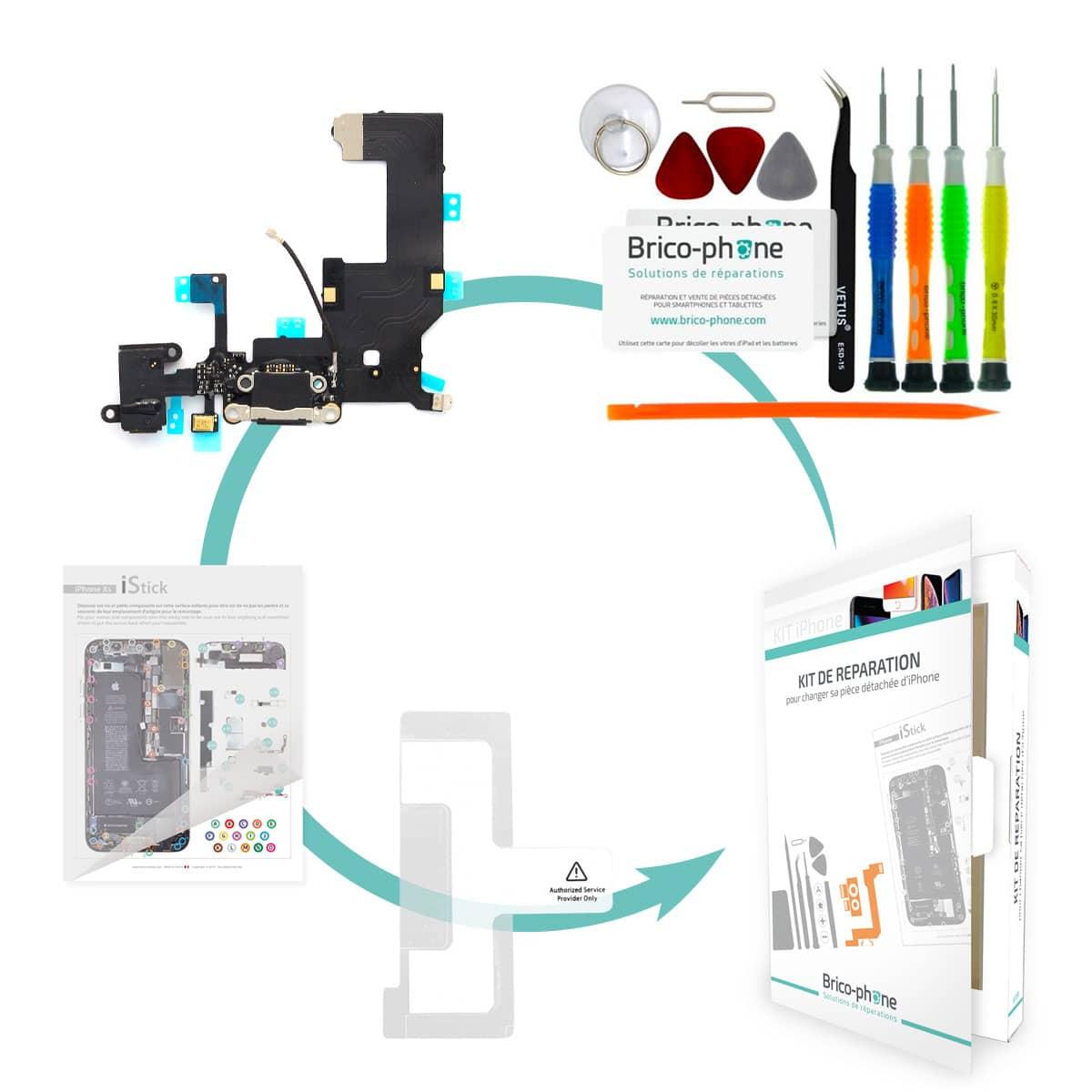 Kit Brico-phone pour changer le connecteur de charge prise jack et micro NOIR iPhone 5