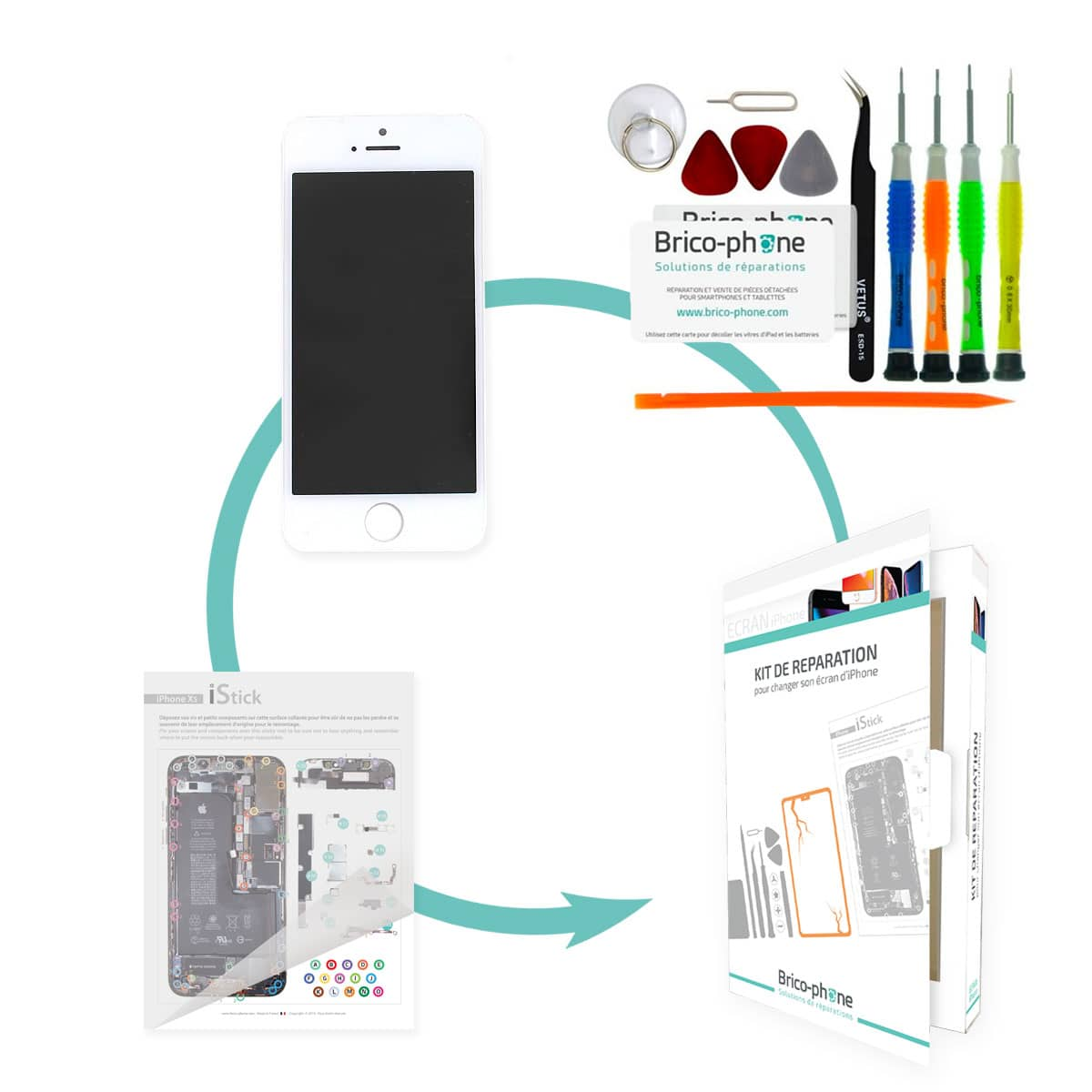Kit de réparation Brico-phone avec écran BLANC iPhone 5S RAPPORT QUALITE / PRIX
