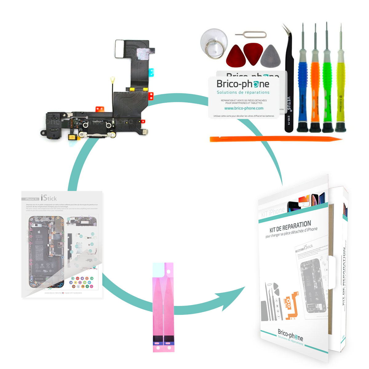Kit Brico-phone pour changer le connecteur de charge prise jack et micro NOIR iPhone 5S