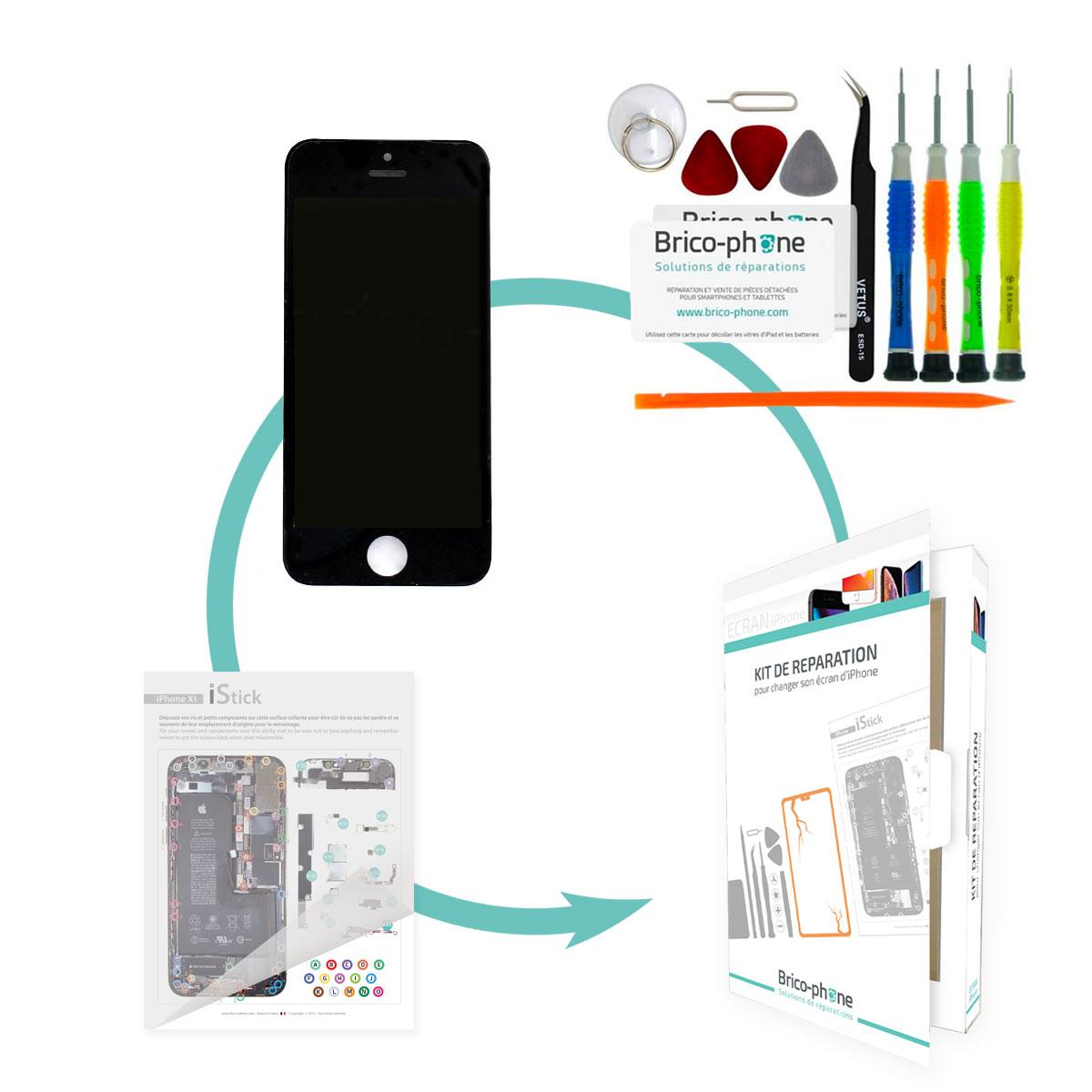 Kit de réparation Brico-phone avec écran NOIR iPhone 5S RAPPORT QUALITE / PRIX