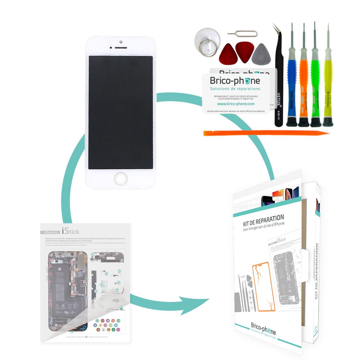 Kit de réparation Brico-phone avec écran BLANC iPhone 5 RAPPORT QUALITE / PRIX